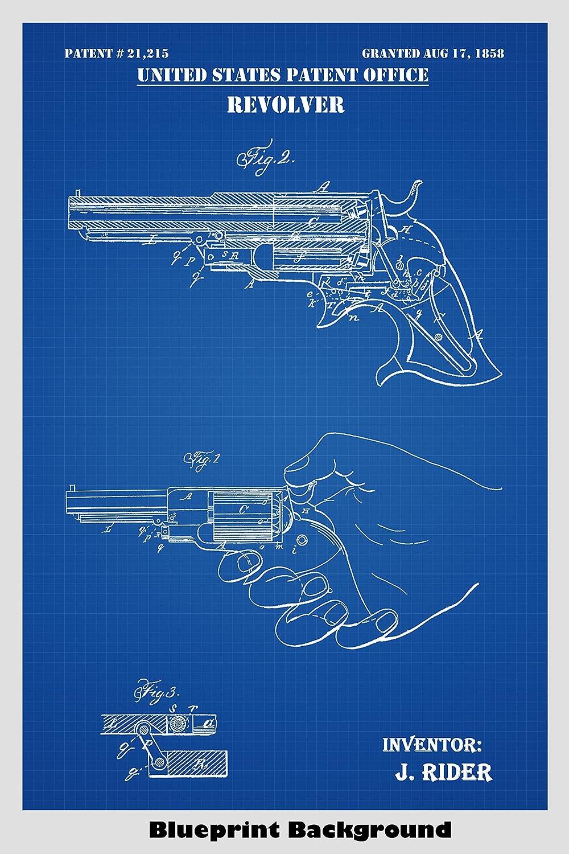 Amazon com: 1858 Remington Rider Pocket Revolver Patent Print Art