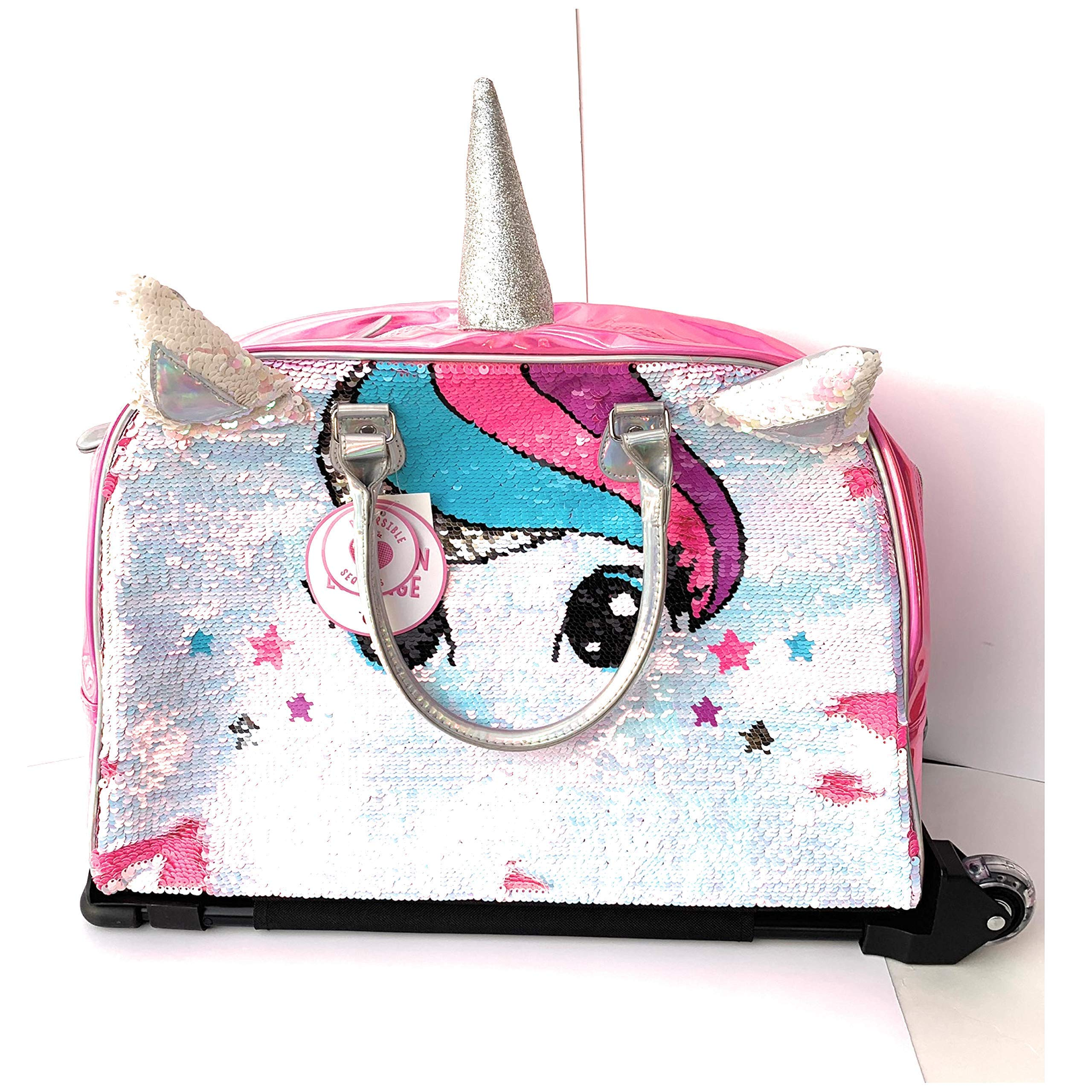 Justice Girls Exclusive Pink Reversible Seqiun Unicorn Carry On Luggage Suitcase Travel Bag by Justice (Image #2)
