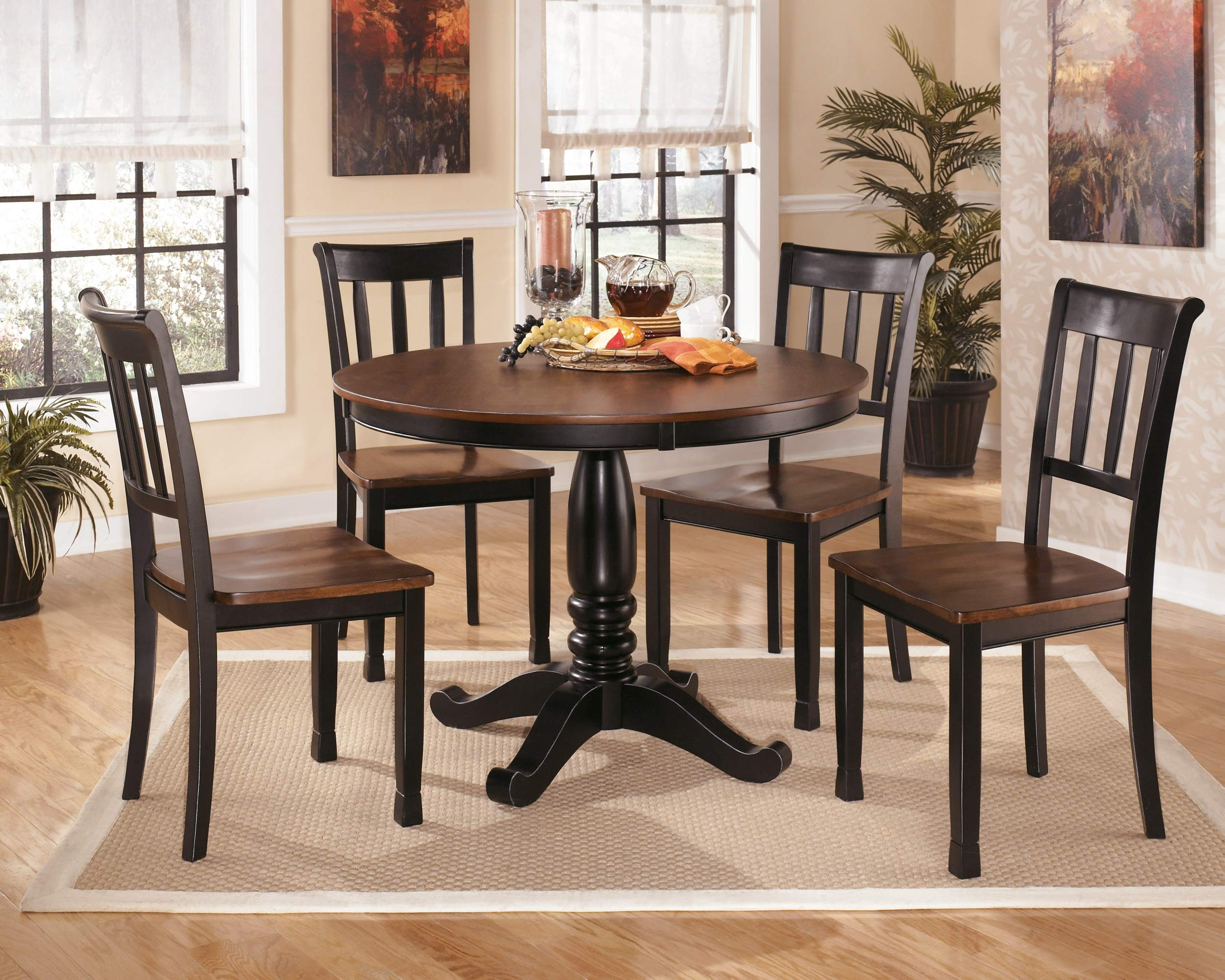 Ashley Furniture Signature Design - Owingsville Dining Room Side Chair - Latter Back - Set of 2 - Black-Brown by Signature Design by Ashley (Image #9)