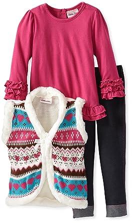 e525cd1c5 Little Lass Baby Girls' 3 Piece Faux Fur Knit Sweater Vest Set, Fuchsia,
