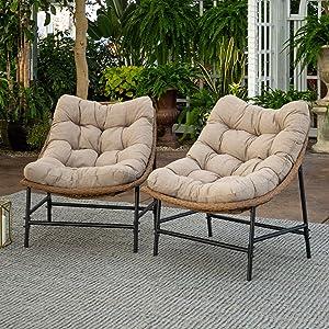 Walker Edison Furniture Company AZRRSC2NL Rattan Scoop Outdoor Chair, Set of 2, Natural