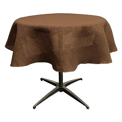 LA Linen 58u0026quot; Round Jute Burlap Round Table Overlay   Pack Of 1   Brown