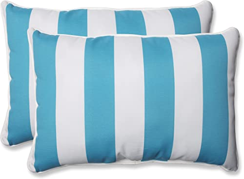 Pillow Perfect Outdoor Indoor Cabana Stripe Turquoise Oversized Lumbar Pillows, 24.5 x 16.5 , Pack of 2