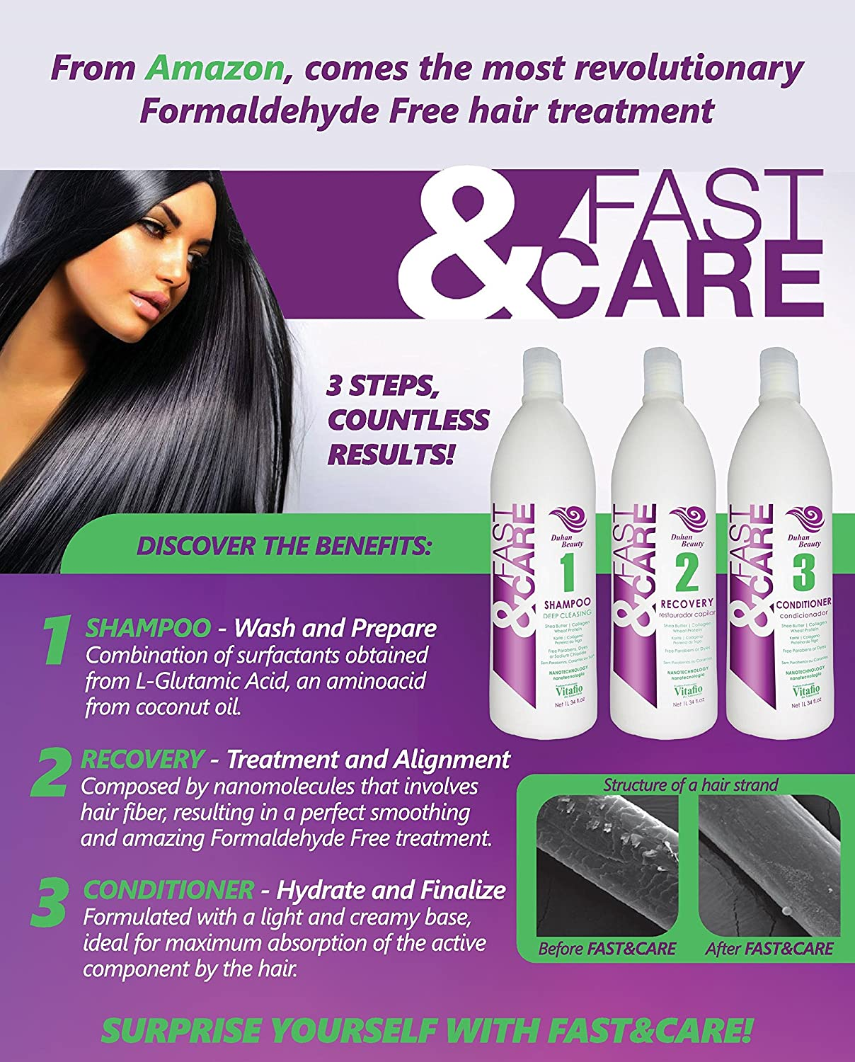 Amazon.com : Fast & Care - Brazilian Keratin Hair Treatment Kit - Formaldehyde Free - 3 Steps (Shampoo, Recovery, Conditioner) Professional Use - SEM FORMOL ...