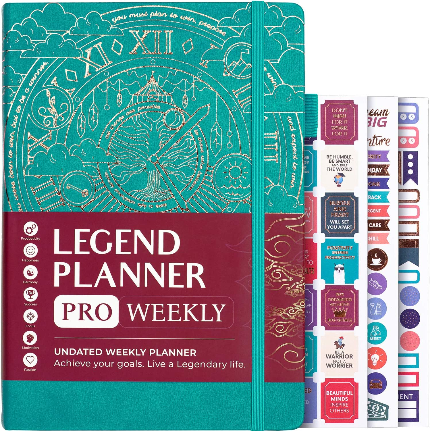 """Legend Planner PRO - Deluxe Weekly & Monthly Life Planner to Increase Productivity and Hit Your Goals. Time Management Organizer Notebook - Undated - 7 x 10"""" Hardcover + Stickers - Viridian Green"""