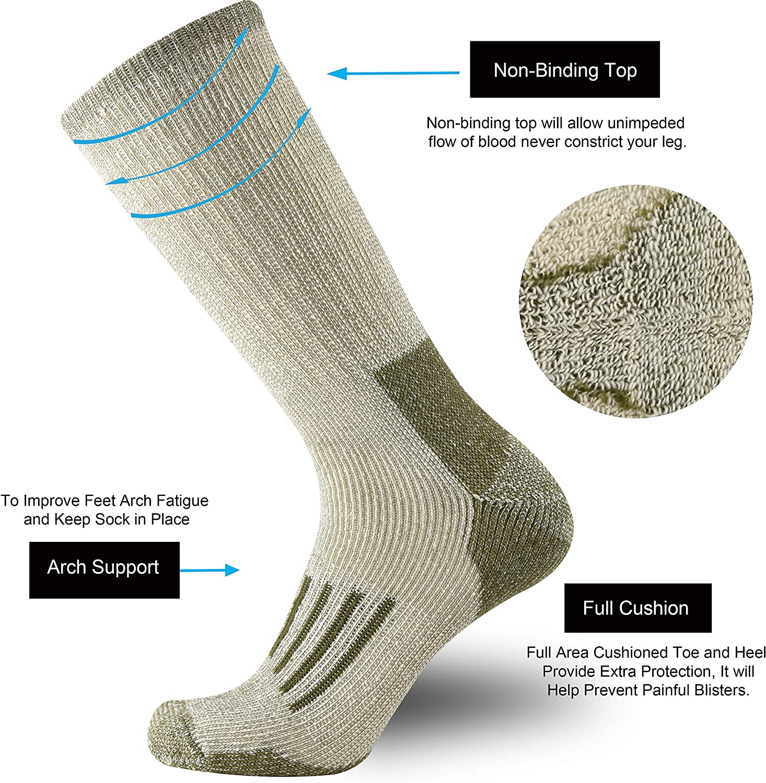 ONKE Mens Merino Wool Moisture Wicking Thermal Outdoor Hiking Heavy Cushion Crew Socks