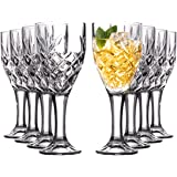Royalty Art Juego de copas de copa de Highball, 8 vasos, diseño decorativo de cáliz Kinsley para cerveza, licor, vino, agua y