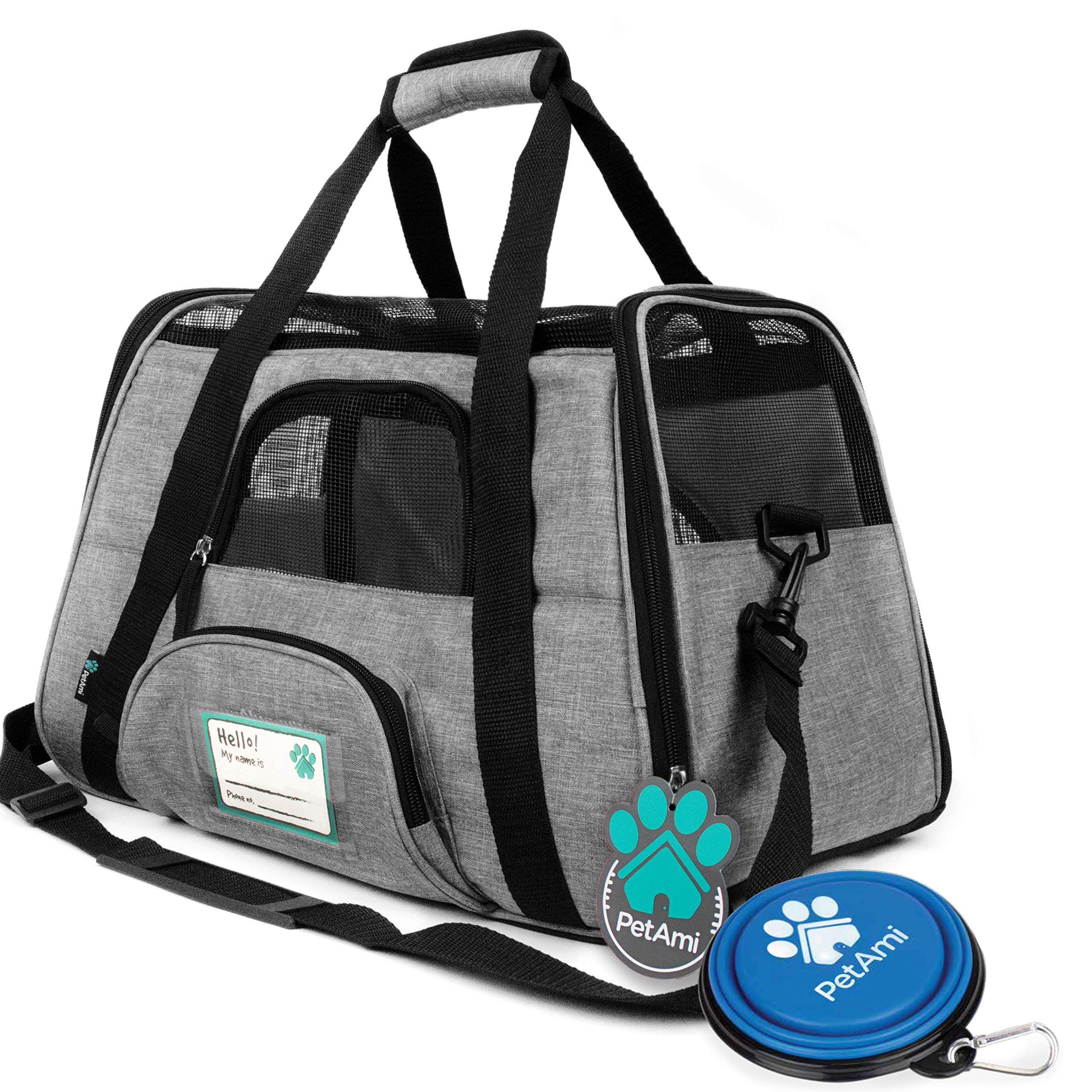 PetAmi Premium Airline Approved Soft-Sided Pet Travel Carrier | Ventilated, Comfortable Design with Safety Features | Ideal for Small to Medium Sized Cats, Dogs, and Pets (Large, Heather Gray) by PetAmi