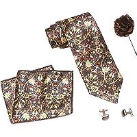 COCO CHANEL Men's Silk Summer Stain Resistant Necktie with Lapel Pin Cufflinks Set (Brown)