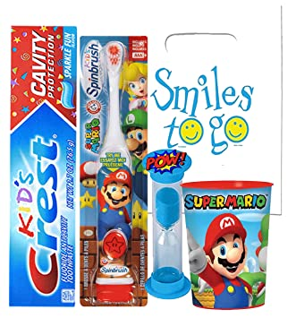 Super Mario Brothers 4pc Bright Smile Oral Hygiene Bundle! Turbo Powered Toothbrush, Toothpaste,