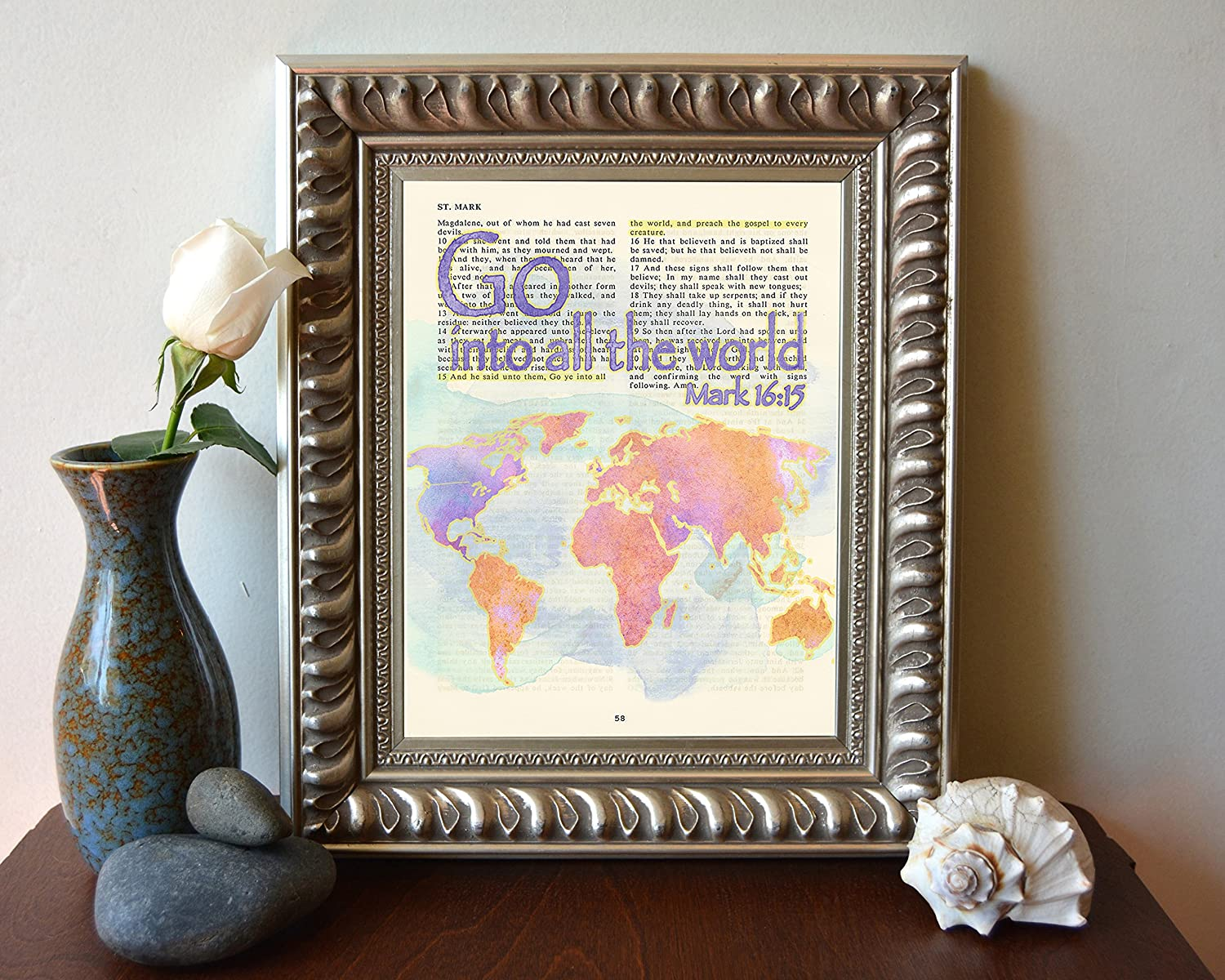Amazon.com: Vintage Bible verse scripture - Go into all of the World ...