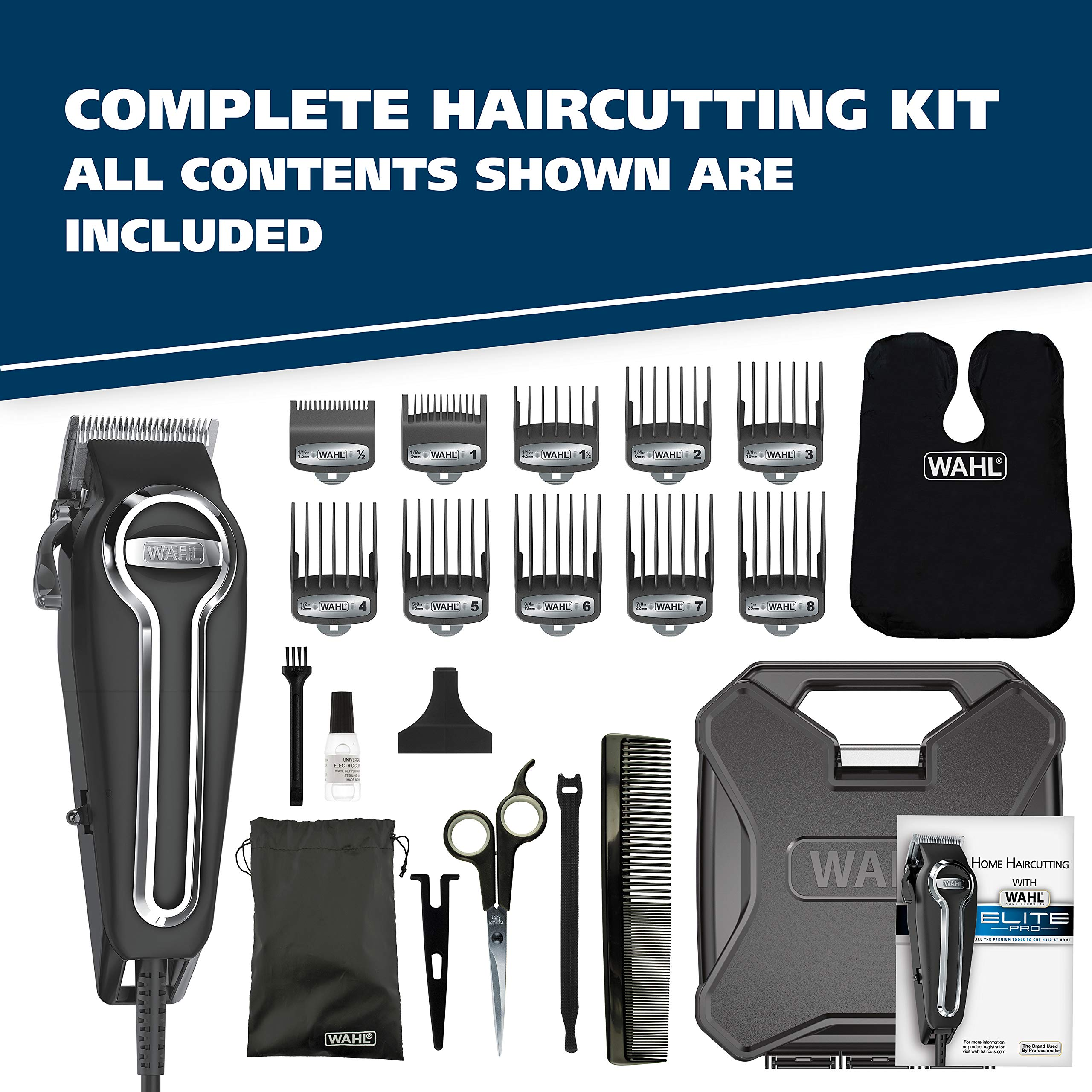 Wahl Clipper Elite Pro High Performance Haircut Kit for men, includes Electric Hair Clippers, secure fit guide combs with stainless steel clips - By The Brand used by Professionals #79602 by WAHL (Image #8)
