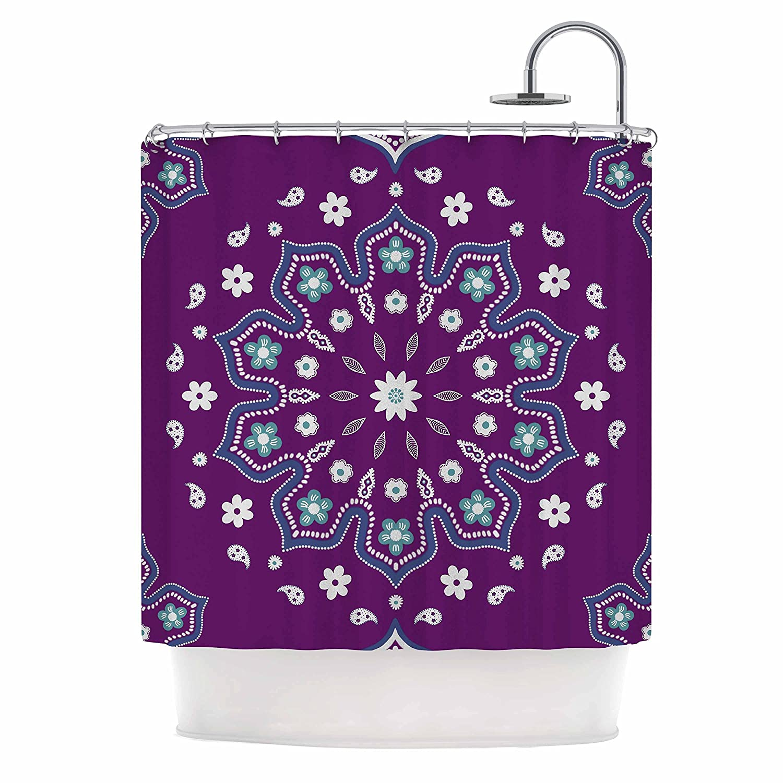 Kess InHouse Cristina Bianco Design Mandala Purple White Illustration 69 x 70 Shower Curtain