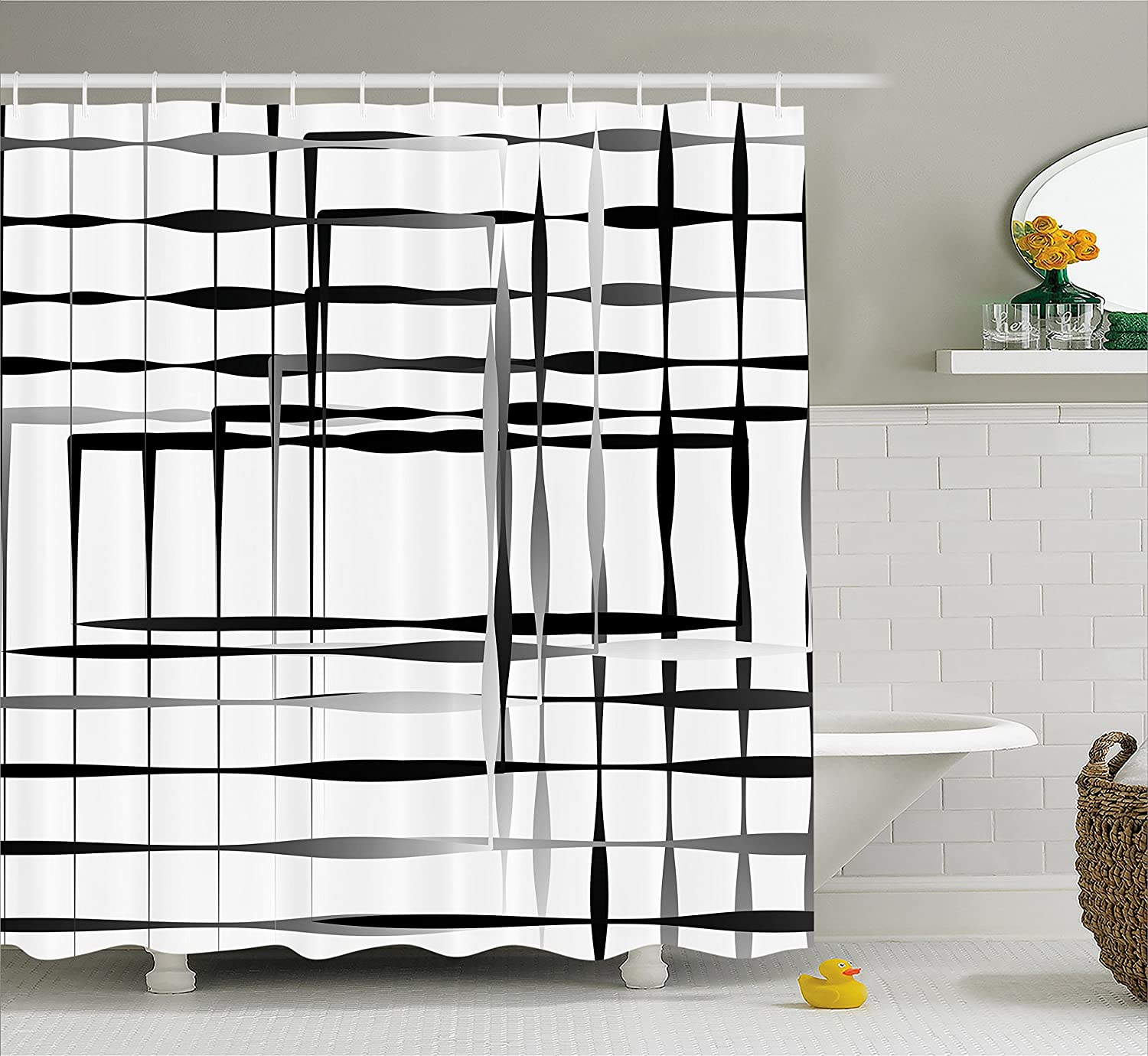 Ambesonne Modern Art Home Decor Shower Curtain, Minimalist Image with Simplistic Spaces and Spare Asymmetric Grids, Fabric Bathroom Decor Set with Hooks, 75 Inches Long, Black White