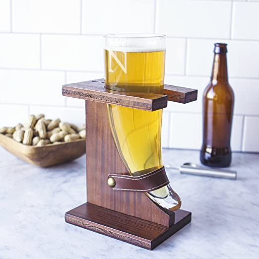 Beer Horn with Rustic Stand