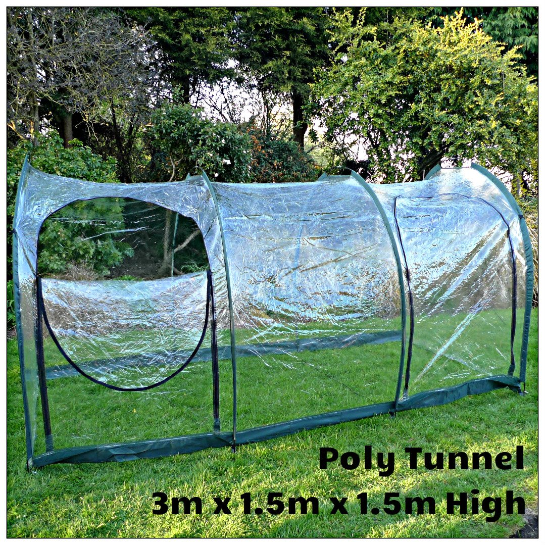 1.5m Wide and 1.5m High - Garden Giant Easy Poly Tunnel Greenhouse for Plant Protection (3m x 1.5m x 1.5m) GardenSkill