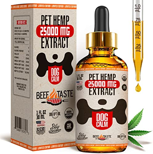 Billy Balance m il for Dogs 25 000 MG Stress Relief, Anxiety, Pains, Joint Pain, Seizures, Arthritis, Better Sleep Beef Taste USA Grown Made