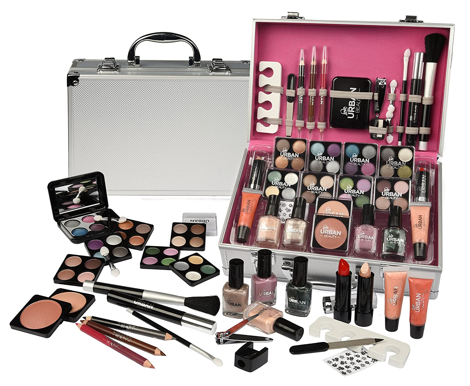 6564151a7 Urban Beauty - Vanity Case Cosmetic Make Up Urban Beauty Box Travel Carry  Gift Storage 60 Piece: Amazon.co.uk: Beauty