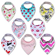 Bandana Baby Drool Bibs and Washcloths for Girls by Infant Dreams, 8-Pack Bibs 2-Pack Washcloths 100 Percent Organic Cotton, Cute for Newborn Baby Shower. Soft, Absorbent and Hypoallergenic