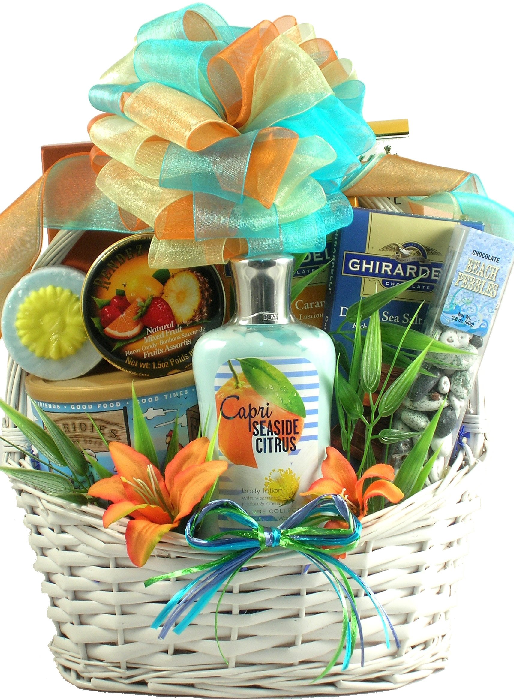 Tropical Scent-sations, Luxurious Tropical Gourmet & Spa Gift Basket For Women To Enjoy, 7 lb
