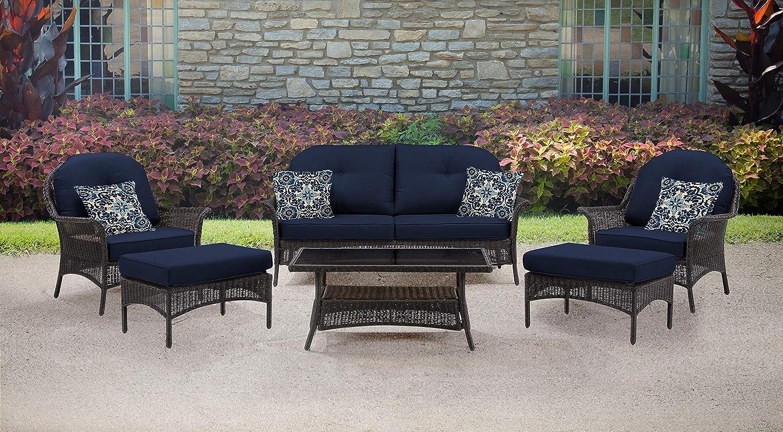 Miraculous Hanover Smar 6Pc Nvy San Marino 6 Piece Patio Set Navy Blue Outdoor Furniture Cjindustries Chair Design For Home Cjindustriesco