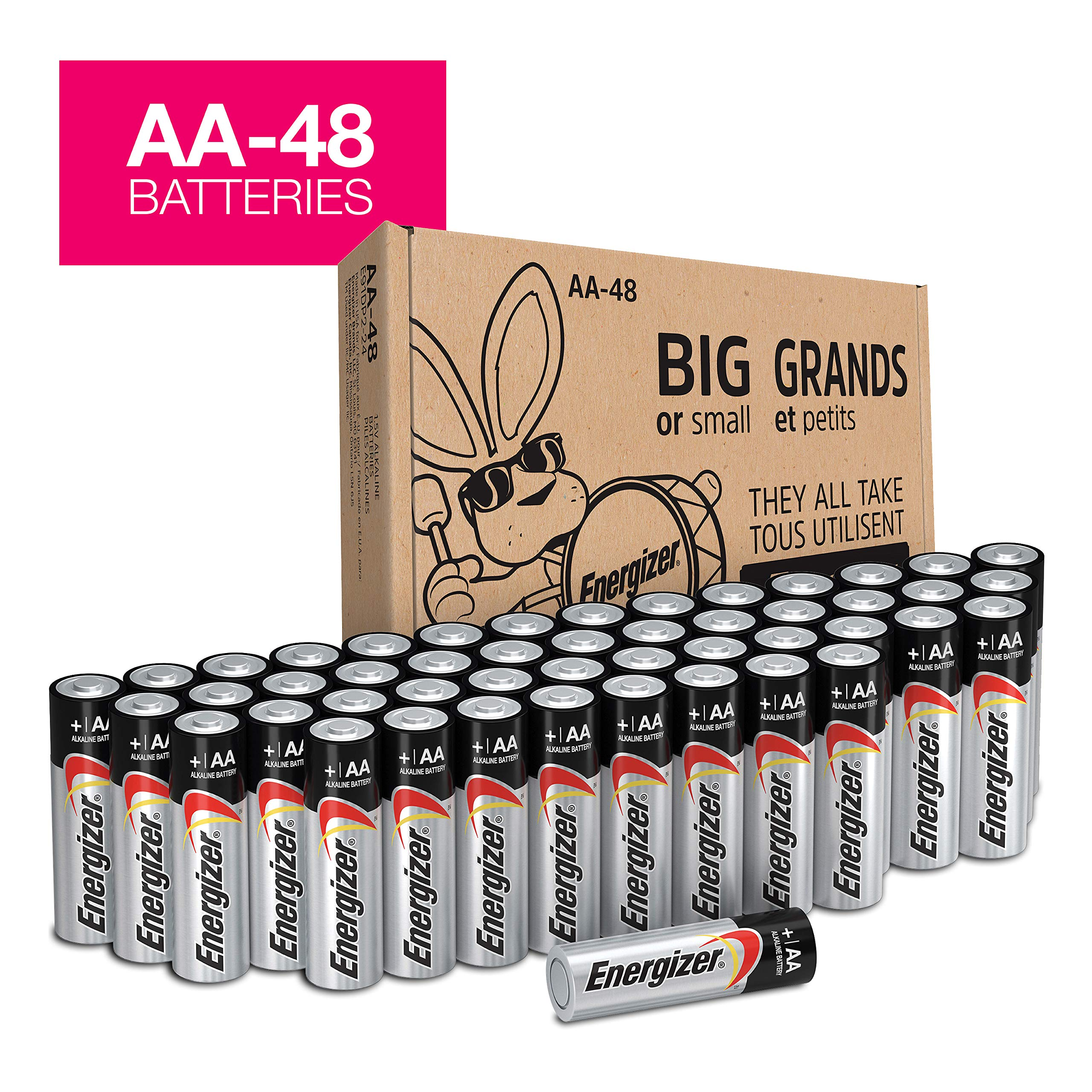 Energizer AA Batteries (48Count), Double A Max Alkaline Battery - Packaging May Vary by Energizer