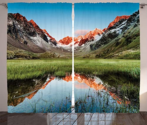 Ambesonne Rustic Curtains, Snowy Peaks Mirroring in Lake Surrounded by Meadow Below Stubai Alps Austria Image, Living Room Bedroom Window Drapes 2 Panel Set, 108 X 84 , Multicolor