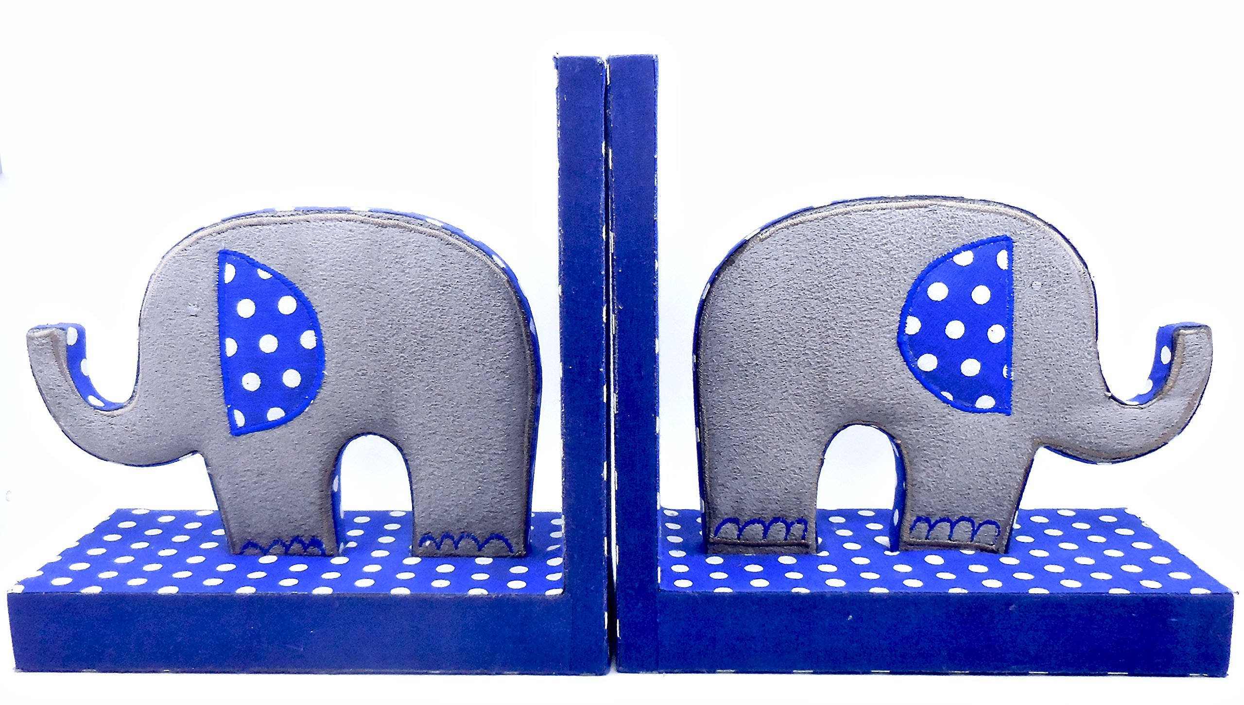 Elephant Bookends 2 Suede/Blue Polka Dots/Covered Wood