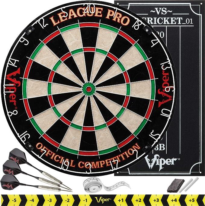 Viper League Pro Regulation Bristle Steel Tip Dartboard Starter Set - Best Self-Healing Dart Board