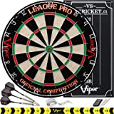 Viper League Pro Regulation Bristle Steel Tip Dartboard Starter Set with Staple-Free Bullseye, Radial Spider Wire, High-Grade