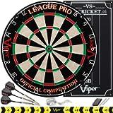 Viper League Pro Regulation Bristle Steel Tip Dartboard Starter Set with Staple-Free Bullseye, Radial Spider Wire, High…