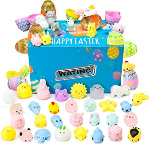 WATINC 48 Pack Mochi Squeeze Toys Filled Easter Eggs, Mini Soft Stress Relief Mochi Toys for Kids Easter Party Favors, Easter Basket Stuffers Fillers for Toddlers Boys Girls, Easter Egg Hunt Game