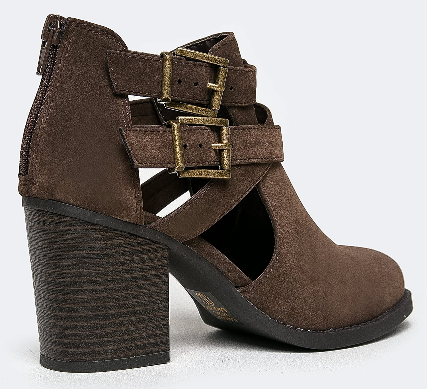ea232b0c8 Amazon.com | J. Adams Cut Out Buckle Ankle Bootie - Low Stacked Wood Heel  Western Round Boot - Vegan Leather Sammi | Ankle & Bootie