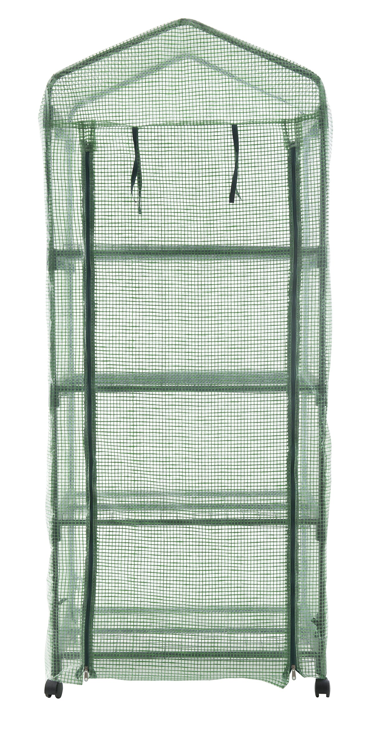 GOJOOASIS 4 Tier Mini Portable Garden Greenhouse on Wheels Plants Shed Hot House for Indoor and Outdoor