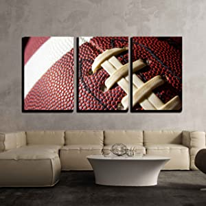 "wall26 - 3 Piece Canvas Wall Art - Football Ball - Modern Home Decor Stretched and Framed Ready to Hang - 24""x36""x3 Panels"