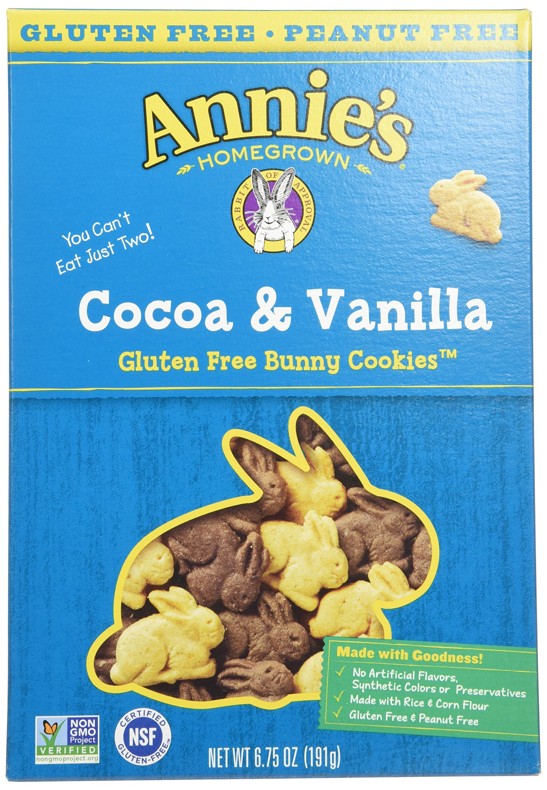 Annie's Homegrown Gluten Free Cocoa & Vanilla Bunny Cookies, 6.75-Ounce Boxes (Pack of 12)