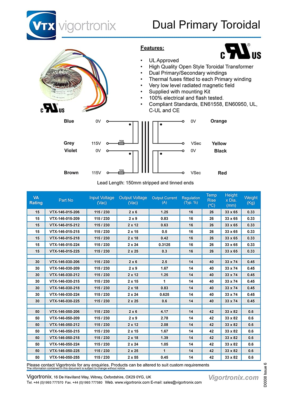2 x 24 V Transformador toroidal 100 VA 2 x 115 V