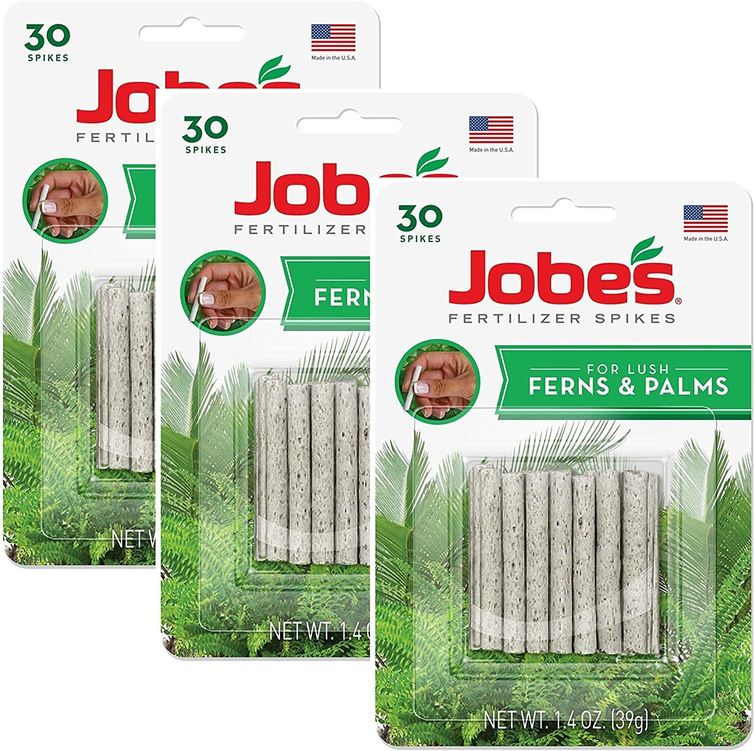 Jobe's Fern & Palm Fertilizer Spikes, 16-2-6 Time Release Fertilizer for Indoor Palm Plants, 3 Pack (30 Spikes per Each Package)