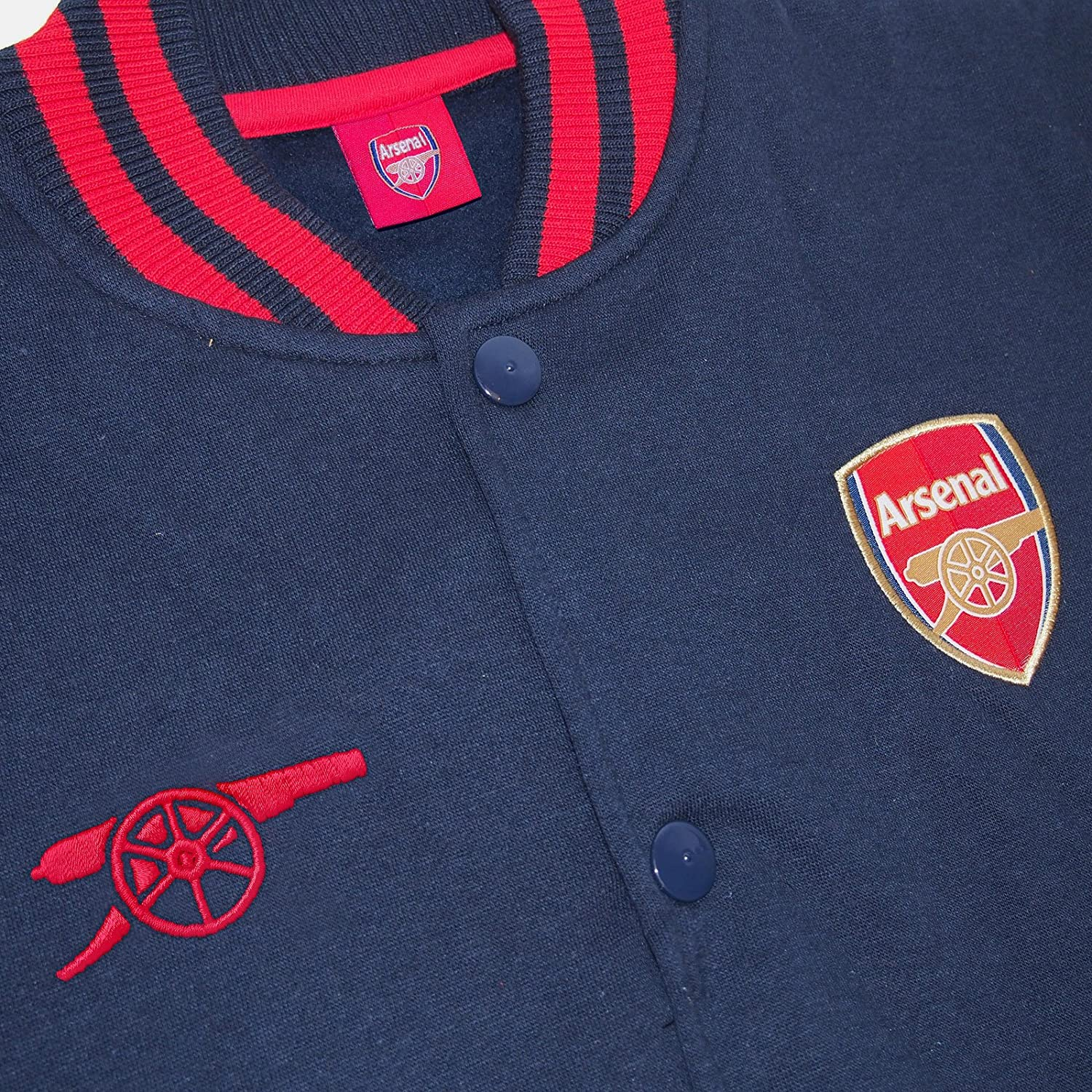 Arsenal FC Official Football Gift Boys Retro Varsity Baseball Jacket Navy