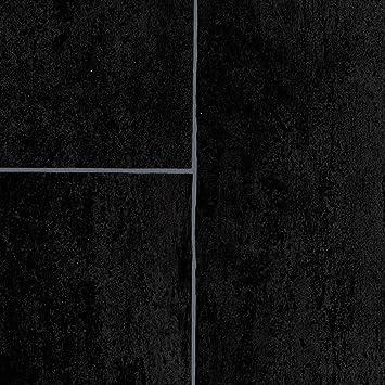 PVC Bodenbelag Steinoptik | Fliesenoptik anthrazit schwarz | 200 ...