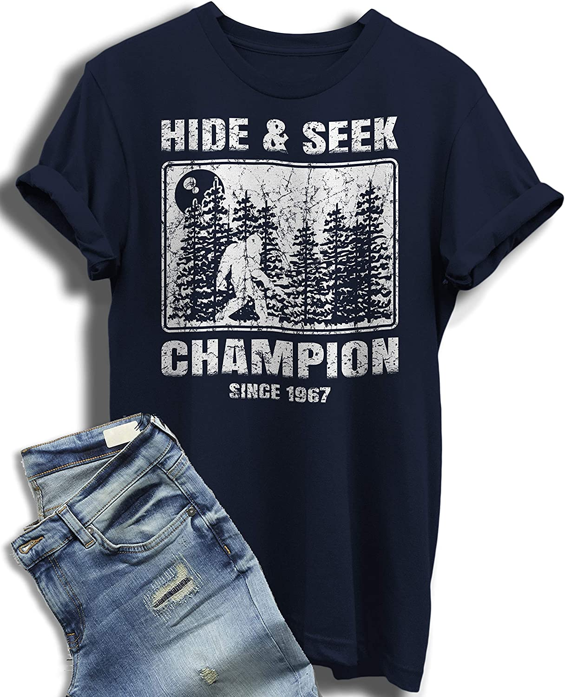 07bb52fe7 Amazon.com: Hide and Seek Champion T Shirt Undefeated Bigfoot Sasquatch Yeti  World Champ Tee: Aman&Aman: Clothing