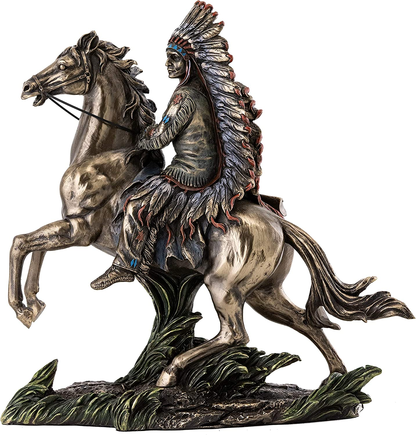 Top Collection Chief Sitting Bull on Horseback Statue - Native American Sculpture with Beautiful Headdress in Premium Cold Cast Bronze- 10.75-Inch Collectible Indigenous Warrior Figurine