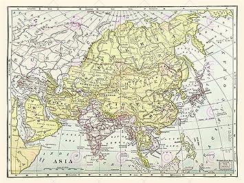 Asia Map Siberia.Map Asia Continent China Siberia Tibet Large Art Print Lf875 Amazon