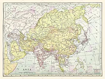 Large Map Of Asia.Map Asia Continent China Siberia Tibet Large Art Print Lf875 Amazon