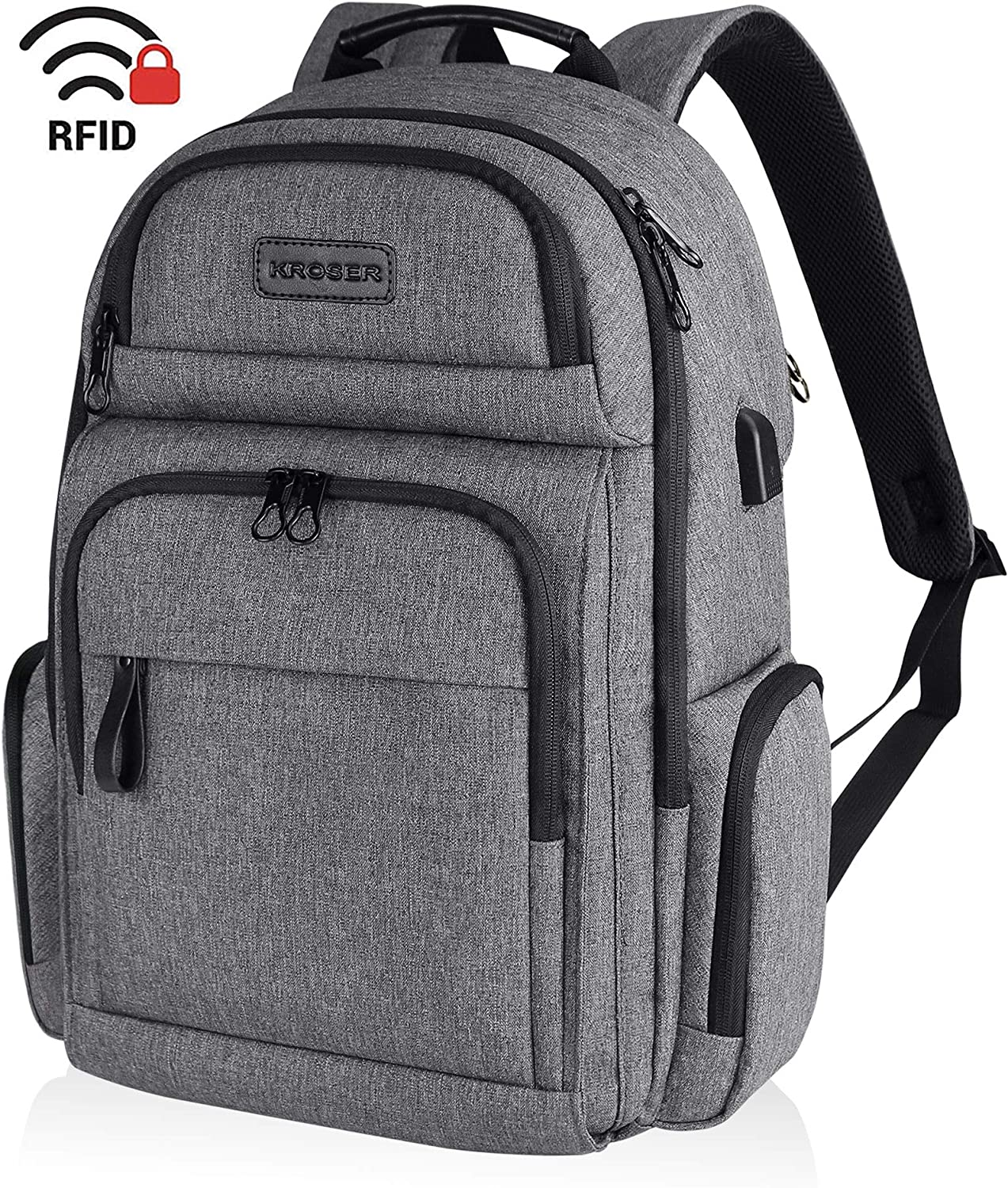 KROSER Travel Laptop Backpack Stylish 15.6 Inch Computer Backpack with Hard Shell Saferoom Water-Repellent Sturdy School Daypack with RFID Pockets for Work/Business/College/Men/Women-Grey