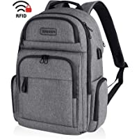 KROSER Travel Laptop Backpack Stylish 15.6 Inch Computer Backpack Water-Repellent School Daypack with RFID Pockets USB Charging Port for Work/Business/College/Men/Women-Grey