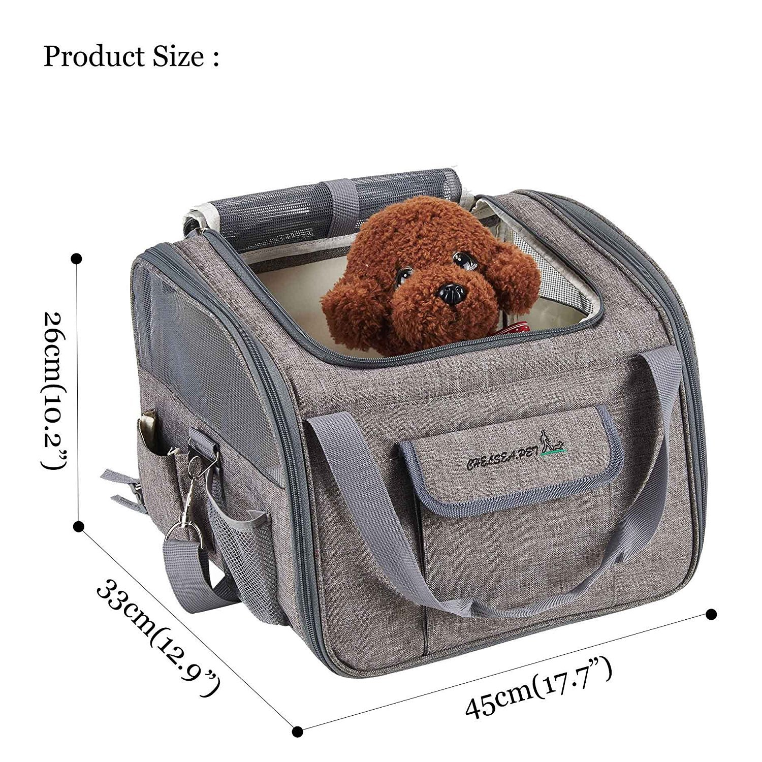 Decoroom Pet Car Seat Carrier Dog Cat Lookout Booster Seat Soft-Sided Foldable Puppy Travel Bag Light Gray by Decoroom (Image #3)