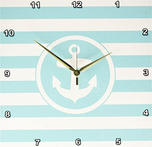3dRose DPP_179691_2 Nautical Anchor Circle on Turquoise and White Stripes Aqua Teal Wall Clock, 13 by 13-Inch