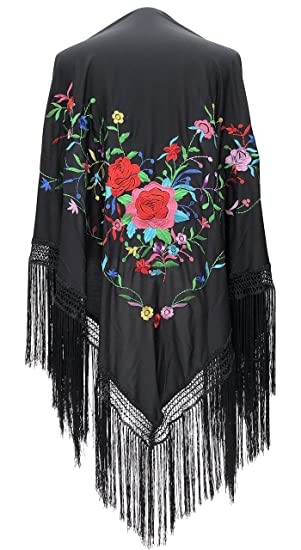 1920s Style Shawls, Wraps, Scarves La Senorita Spanish Flamenco Dance Shawl Black with various colored flowers Fringes black size L $39.99 AT vintagedancer.com