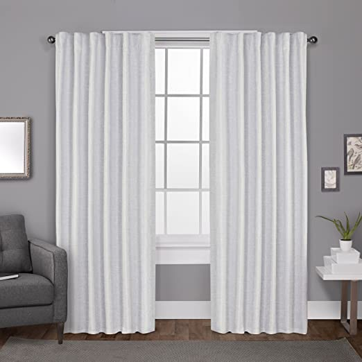 52x96 Winter White Exclusive Home Curtains Zeus Solid Textured Jacquard Blackout Window Curtain Panel Pair with Back Tab Top 2 Piece